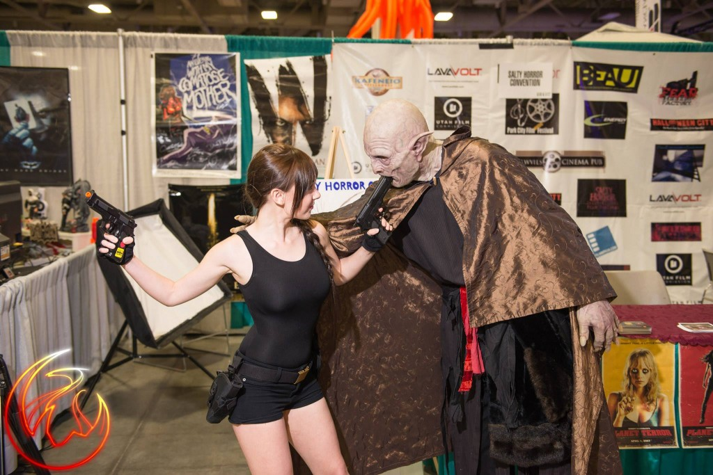 Megan Golden with a Fear Factory creature at the Salty Horror booth at Fantasy-Con 2014.